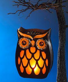 Look what I found on #zulily! Black & Orange Owl Lantern #zulilyfinds