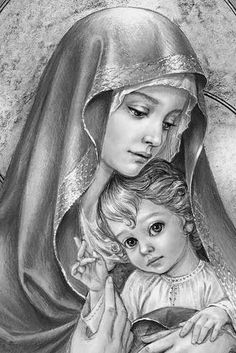 Religious Tattoos, Religious Icons, Virgin Mary Painting, Mother And Child Painting, Jesus Drawings, Spirit Tattoo, Jesus E Maria, Realistic Eye Drawing, Jesus Is Life