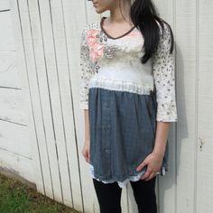 small  medium  Romantic Day Dress / Upcycled Clothing by CreoleSha