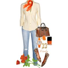 """Beige / Nude, Orange, Light Jeans, Brown, Leopard Outfit """"Spring"""" by cindy32tn on Polyvore"""