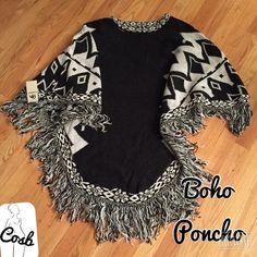 Boho Black & White Poncho Gorgeous Boho Print Black & White Sweater Material Poncho. Poncho has boho print @ collar & on the outer ends. Has black & white fringes & is very full & long.  Poncho is OS- Will fit Medium to XL. Cute Cosb Sweaters Shrugs & Ponchos