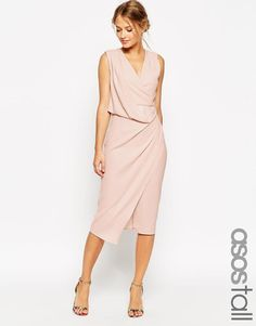 ASOS Tall | ASOS TALL WEDDING Wrap Drape Midi Dress at ASOS