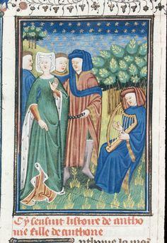 AuthorGiovanni Boccaccio TitleDe claris mulieribus in an anonymous French translation (Le livre de femmes nobles et renomées) OriginFrance, N. (Rouen) Datec. 1440 LanguageFrench Royal 16 G V   f. 104v   Antonia
