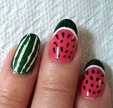 Watermelon Nails featuring Migi Nail Art Pens