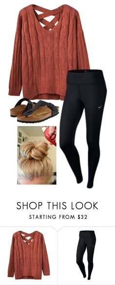 """me everyday actually"" by marybrigham ❤ liked on Polyvore featuring NIKE and Birkenstock"