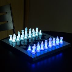 LED Glow Chess Set Prepare Yourself For The Coolest Chess Set You Will Lay Your Eyes On! This beautiful chess set is as much fun to show off as it is to play with. It's made of high quality, durable materials that will ensure it will lasts for many years to come. Each chess piece is either a blue or white translucent piece, which sits on the equally stunning board with a mirrored surface. What makes this chess set stand out among many others is the fact that each chess piece lights up. When…