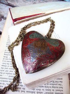 Vintage Brass Long Necklace Enameled Brass by primitivepincushion, $34.99
