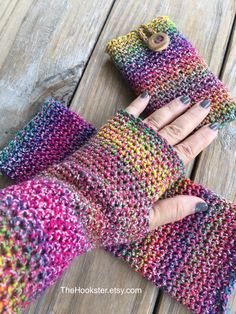 Hand Crocheted Multi-colored Texting Gloves, Fingerless Gloves, Crochet Arm Warmers, Imported Italian cotton blend yarn, Boho Wrist Warmers by TheHookster on Etsy