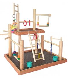 Features:- Base: 20 ' ' x 17 ' '- 2nd level 13 ' x 8 '- Overal height: 22 'Bird Gyms Playstand includes:- ladder- swing- feed cups- extra eye hooksBird Gyms Playstand is good for:Cockatiels, Parakeets, Lovebirds, Senegals, Myers, Red Bellies,Quakers, conures such as Green Cheeks, Maroon Bellies, peach fronts, Red throats, Gold Caps,Sun conures, Jendays, most austrailian types, and others of similiar size. Bird Gyms Assembly Instruction