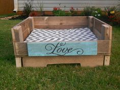 rustic upcycled pallet dog beds (But I would have to use it for my cat) $95.00