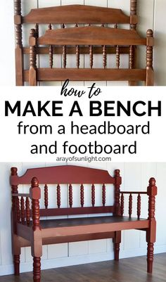 How to build a bench made from a headboard and footboard with these step by step instructions! Thrift a twin headboard and footboard for. Headboard Benches, Headboard And Footboard, Headboards For Beds, Diy Furniture Redo, Furniture Projects, Modern Furniture, Furniture Design, Furniture Removal, Farmhouse Furniture