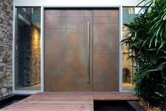 Routed crosshatch door bronze smooth pearl entrance doors for homes front c Modern Entrance Door, Modern Front Door, Front Door Entrance, Front Door Design, Gate Design, House Entrance, Entry Doors, Front Entry, Pivot Doors