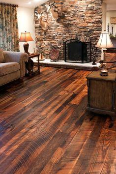 Barn Wood Flooring - Rustic Living Room with Barn Wood Flooring