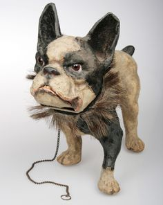 Antique French Papier Mache Bulldog Pull Toy | From a unique collection of antique and modern toys at https://www.1stdibs.com/furniture/more-furniture-collectibles/toys/