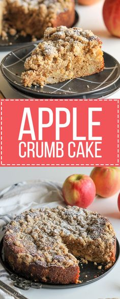 This Apple Crumb Cake is full of warm spices, apple chunks, and Greek yogurt to keep it soft! This recipe has a super thick crumb layer and is a perfect fall cake. Apple Desserts, Apple Recipes, Fall Recipes, Baking Recipes, Sweet Recipes, Delicious Desserts, Dessert Recipes, Yummy Recipes, Yummy Food