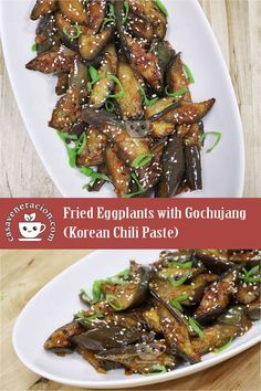 Fried Eggplants with Gochujang (Korean Chili Paste) Serves 4 Spicy Eggplant, Eggplant Recipes, Side Dish Recipes, Vegetable Recipes, Asian Recipes, Healthy Recipes, Eggplant Side Dishes, Legumes, Kitchens