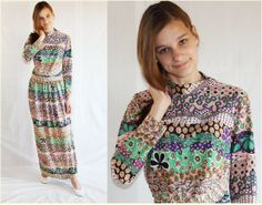 60s Maxi Dress / Mod / Psychedelic / Boho / by PetticoatsPlus, $42.00