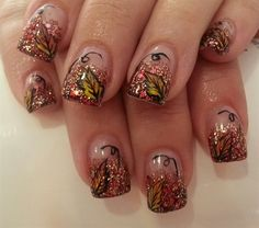 fall nails by Janayna - Nail Art Gallery by Nails Magazine Fabulous Nails, Gorgeous Nails, Pretty Nails, Thanksgiving Nail Art, Tree Nails, Fingernail Designs, Fall Nail Art Designs, Manicure Y Pedicure, Autumn Nails