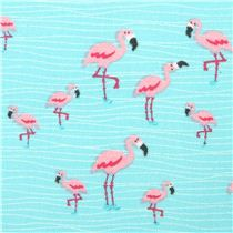 cute animal fabric with many little pink flamingos from the USA