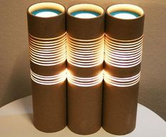 reciclar tubos de cartón como lámparas Más