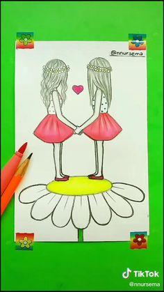 Cute Easy Drawings, Art Drawings Sketches Simple, Dark Art Drawings, Girly Drawings, Art Drawings Beautiful, Art Drawings For Kids, Pencil Art Drawings, Dress Sketches, Drawings Of Friends
