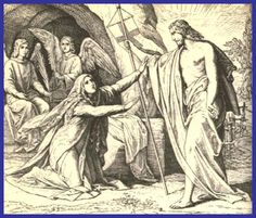 """April 7th - John 20:11-18: Mary Magdalene stayed outside the tomb weeping. And as she wept, she bent over into the tomb and saw two angels in white sitting there, one at the head and one at the feet where the Body of Jesus had been. And they said to her, """"Woman, why are you weeping?"""" She said to them, """"They have taken my Lord, and I don't know where they laid him."""" When she had said this, she turned around and saw Jesus there, but did not know it was Jesus."""