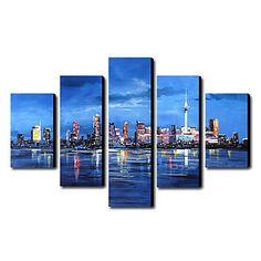 Peints à la main peinture de paysage Paysage Huile Set surdimensionné de 5 – USD $ 129.99