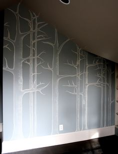 Love Cole & Son's Wallpaper...so expensive...found this DIY handpainted onto walls. I want this in our playroom.