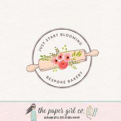 rolling pin logo bakery logo design bakers logo by ThePaperGirlCo Logo Panaderia, Baking Logo Design, Baker Logo, Coffee Shop Logo, Commercial Fonts, Cake Business, Pin Logo, Custom Logo Design, Logo Inspiration