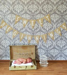Sweet Beginnings Burlap Banner Photography Prop / Baby Shower Decoration / Maternity Photo Prop. (lisa my parents have nice old suitcases we could borrow if you like this)