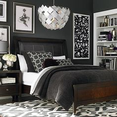 Masculine dark wall colors touches of silver