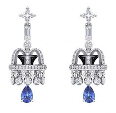 """Pendant earrings from """"Une escale à Paris"""" collection in white gold with 272 diamonds, including 2 LV cut, 42 sapphires including 2 pear-shaped sapphires and onyx by Louis Vuitton"""