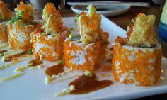 10 Mar 2013 - Akira restaurant's Akira Roll - ebi tempura, kani, softshell, topped with tempura bits, grated cheese, spicy mayo and tobiko