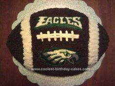 Homemade Eagles Football Birthday Cake: My husband is a HUGE Eagles fan, and since I've started learning the art of decorating cakes, he has been dying for me to make him a Eagles Football Birthday