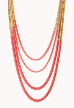 Neon Pop Layered Necklace | FOREVER21 Layer on the color #Chain #Accessories #Neon