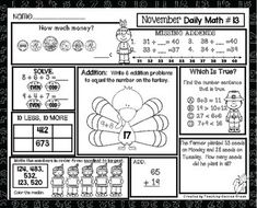 November Daily Math FREEBIE!  Great for Homework, Seatwork, or Early FinishersThis a page is from my November Daily Math packet.  Please take a look by clicking below:November Daily Math
