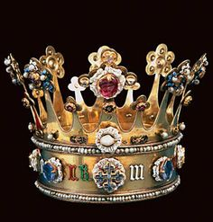 The 15th-century crown of Margaret of York - sister of King Richard III and wife of Charles the Bold, Duke of Burgundy.The crown is one of only two English crowns from the medieval regalia to have survived being destroyed by Oliver Cromwell.