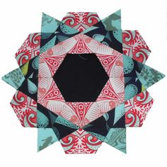 Rose Star block by Possum Blossom, tutorial by Clare at Self Sewn.  English paper piecing quilt