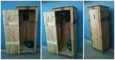 Thought I'd make a mini storage shed that looks like an old outhouse with wooden pallets.…