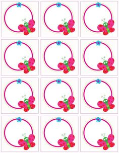"""Cute animal labels"": ""Butterflies on the circle"" labels Borders For Paper, Borders And Frames, Birthday Charts, Diy And Crafts, Paper Crafts, Butterfly Crafts, Printable Butterfly, School Frame, School Labels"