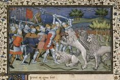 Detail of a miniature of Alexander's battle with white lions. Image taken from f. of Historia de proelis in a French translation (Le Livre et le vraye hystoire du bon roy Alixandre)(index Alexandre). Written in French. British Library, Renaissance Era, Medieval Life, Library Catalog, Alexander The Great, Illuminated Manuscript, 15th Century, Paris, Cross Stitch Patterns