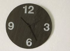 Black wall clock made from salvaged slate that you can write cute notes on in chalk. Slate Wedding, Contemporary Clocks, Hanging Clock, Large Black, House Warming, Birthday Gifts, Rustic, Unique Jewelry, Numbers