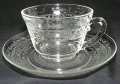 """MacBeth Evans ~ """"S"""" Pattern or Stippled Rose Band Cup & Saucer"""