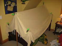 Kids Bedroom Tent twin size bed tent - custom teepee canopy for boys or girls