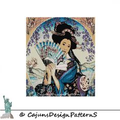 ENCHANTING GEISHAPeyote 2 DropTapestryWall by CajunsDesignPatternS, $12.00