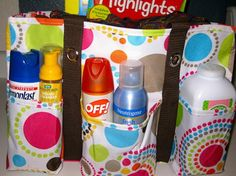 Keep a tote in the van with sunscreen, bug spray, chap stick, wipes, allergy med., first aid kit, mini flashlight...