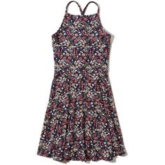 Hollister Must-Have Knit Skater Dress ($20) ❤ liked on Polyvore featuring dresses, black floral, cut-out skater dresses, floral dresses, floral print skater dress, cut out skater dress and cutout dresses