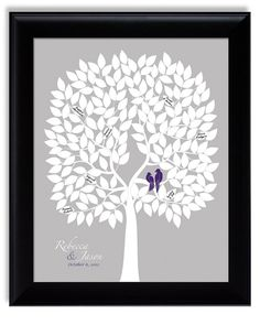 Personalized Wedding Guest Book Alternative Tree Poster with love birds eggplant purple silver gray lapis purple custom wedding gift
