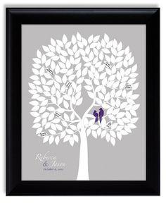 Personalized Wedding Guest Book Alternative Tree Poster with love birds eggplant purple silver gray lapis purple custom wedding gift