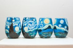 Starry Night Stemless Wine Glass Set of 4 Bottle Painting, Hand Painting Art, Pottery Painting, Ceramic Painting, Glass Painting Designs, Wine Craft, Art Van, Hand Painted Wine Glasses, Wine Decor